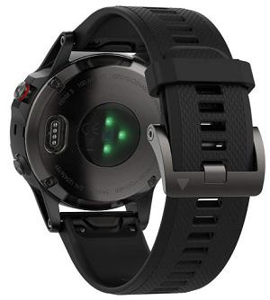 Garmin Fenix 5- Reloj multideporte, con GPS y medidor de frecuencia cardiaca, lente de cristal y bisel de acero inoxidable, 47 mm, cinta negra_
