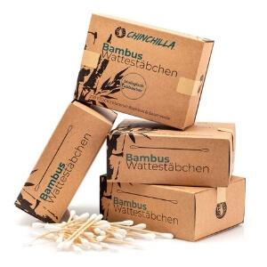 Chinchilla 4-pack Bambú bastoncillos de algodón (800 piezas) 100% Biodegradable, Compostable, Vegano y Sostenible